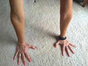 Elbow creases rotate forward.