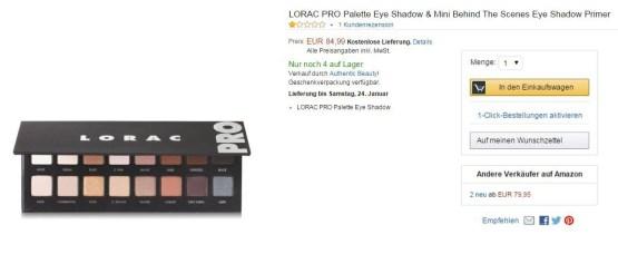 LORAC Pro Palette 1 Eye Shadow / Lidschatten Palette
