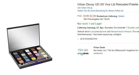 Edit: Urban Decay XX Vice Ltd Reloaded Eye Palette