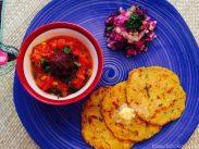 Makai Mooli Paratha with Tomato Chutney