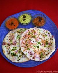 Onion Uthappam, Thick Rice Pan Cake