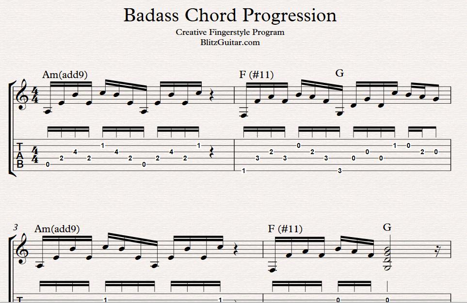 Badass Rhythmic Chord Progression Fingerstyle Guitar Lessons