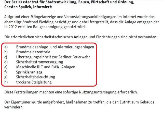 Pressemitteilung Stattbad Wedding Bezirksamt Mitte