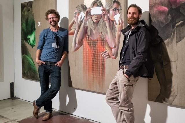 Zwei Drittel von innerfields: Jakob Bardou und Holger Weißflog, Stroke Art Fair 2013 Berlin
