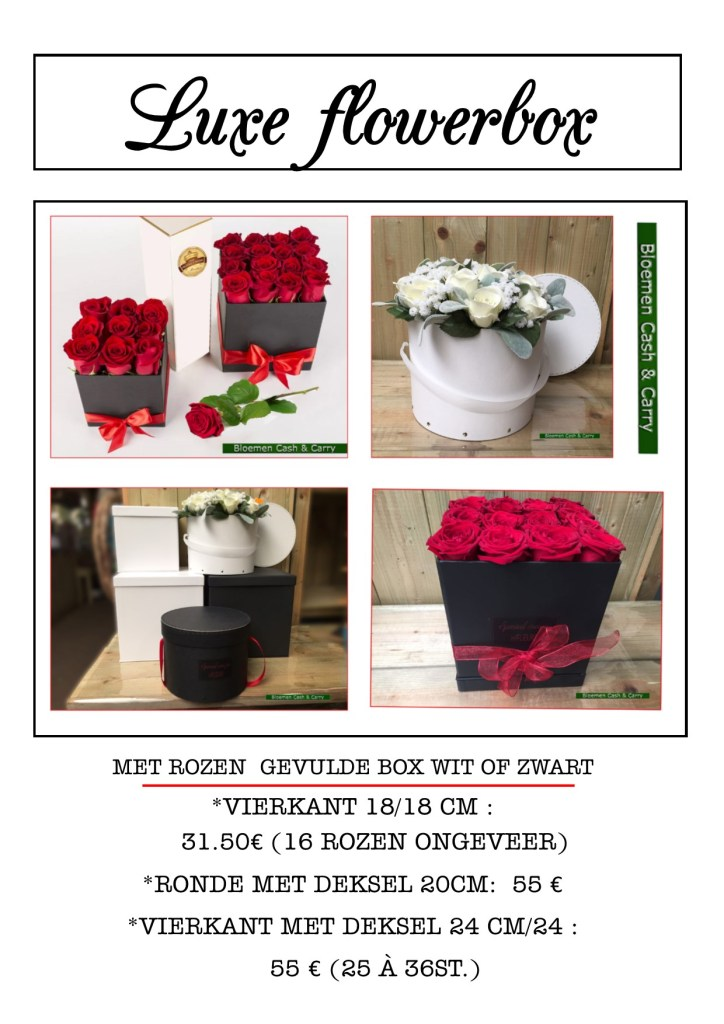 boxen gevuld met rozen, ook telefonisch te bestellen 011/34.49.30 of via mail