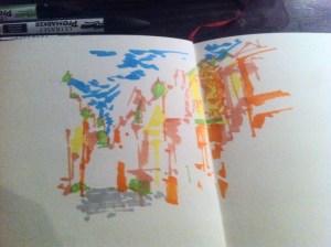 Je poursuis avec du vert pur pour placer les sommets des tours dans la peinture.