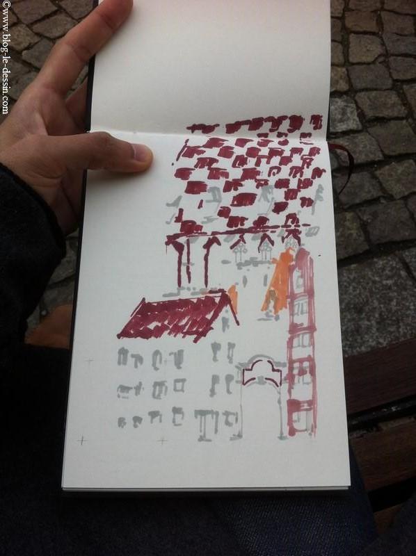 Je dessine les parties en rouge du toit de mon paysage