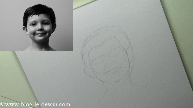 Vous remarquez que je ne fait que les contours des membres du visage sans rentrer dans le détail.