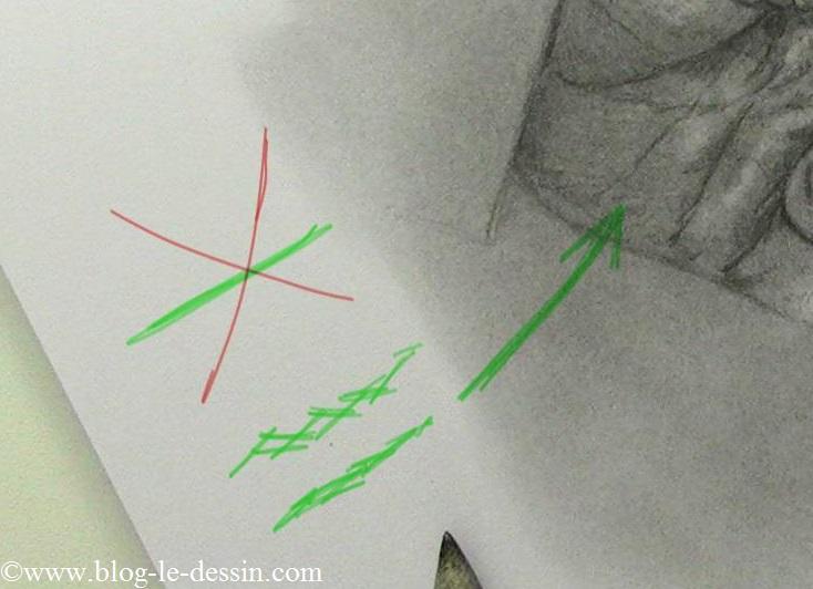 Une illustration où vous voyez les petits losanges dont je me sers pour rendre l'épaisseur de la peau dans la paume.