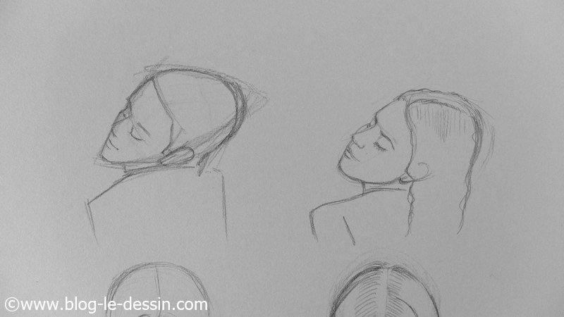 apprendre a dessiner les visages inclines sur le cote