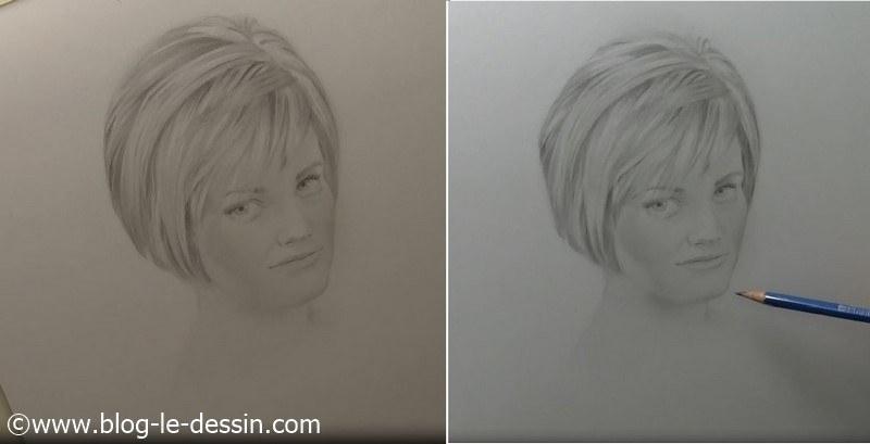 Voici le résultat une fois que l'on compare les deux portraits. Ça vaut le coup d'appliquer cette astuce lorsque l'on apprend à dessiner un visage.
