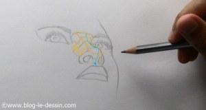 dessiner un nez realiste en contre-plongée surbrillance et relief