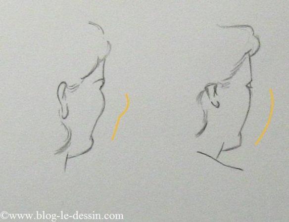 Vous pouvez également suggérer les expressions de sourire vue de derrière. C'est très simple vous devez jouer sur la forme des joues. Souvenez-vous qu'un sourire soulève les masses de joues. Cela modifie donc le contour du visage. Celui-ci est un peu plus bombé au niveau de la pommette et se creuse au dessus du menton.