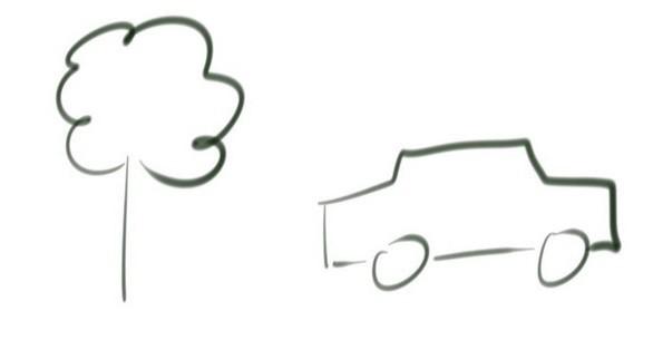 technique croquis rapide symbole arbre voiture