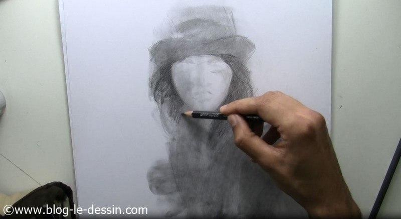 dessin visage fille tutoriel assombri crayon 5B