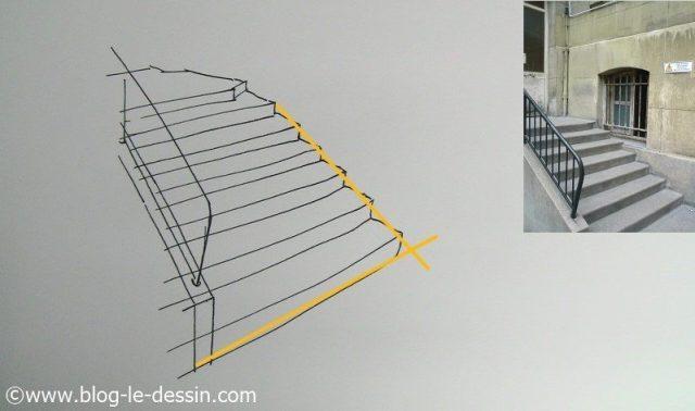 Dessiner un escalier en perspective forme des marches
