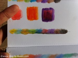 crayons aquarelle test degrade feutre