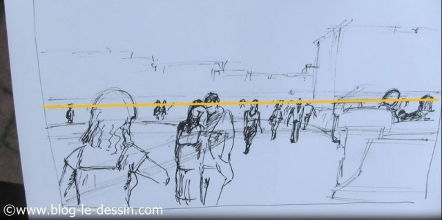 dessin groupe marcheurs