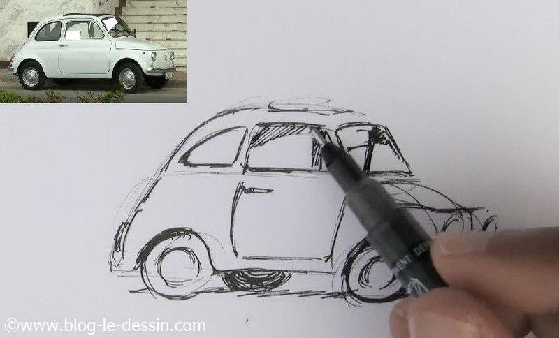 dessiner une voiture facile interieur