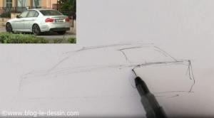 dessiner voiture sportive vitre arriere