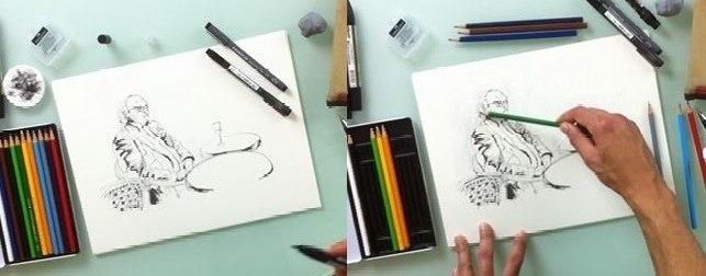 etapes dessin aquarelle facile