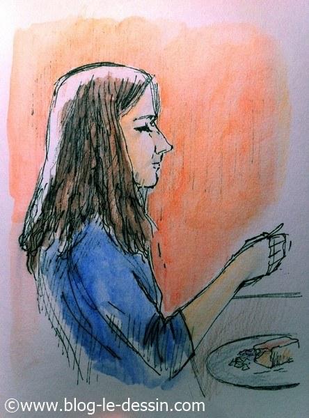 dessiner une fille aquarelle pull