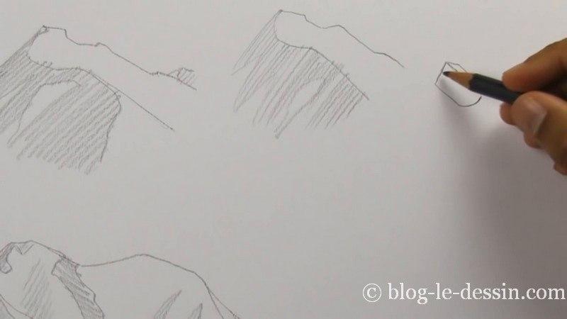 esquisse premiere montagne roche