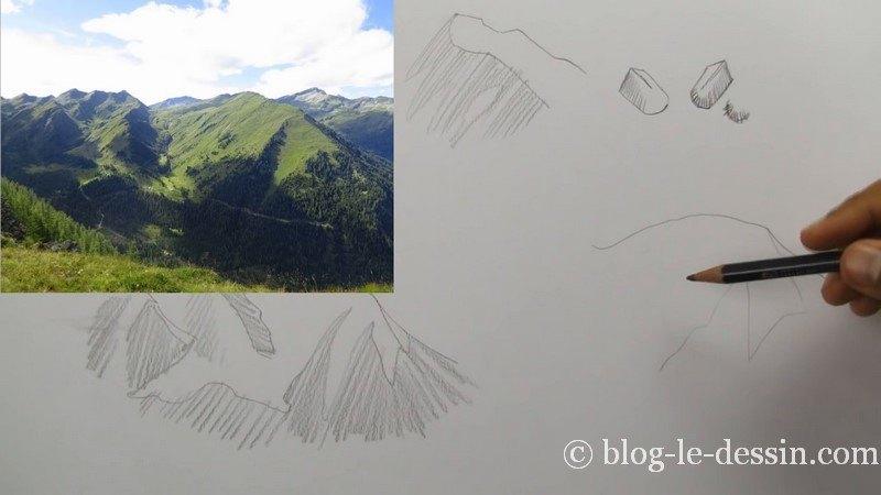 positionner lumiere et vegetation dessiner montagne