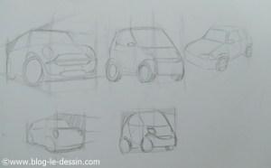 les points de fuite et la perspective du cube pour dessiner les voitures