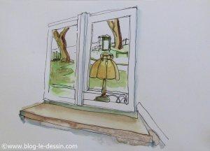 premier dessin en aquarelle avec pinceaux fait avant les 10 jours de pratique reguliere