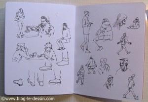 exemples de croquis fait au stylo plume sur une double page de mon carnet
