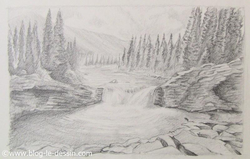 la technique du contraste a utiliser dans un paysage a dessiner pour mettre en valeur la riviere