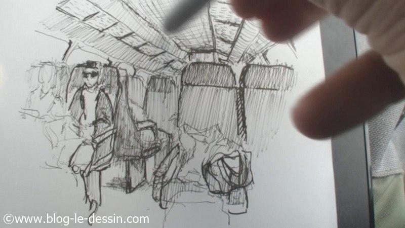 illustration croquis train voyage paris au feutre noir