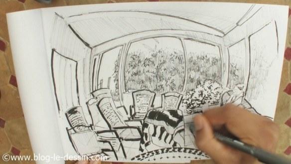 illustration dessin perspective 4 points de fuite interieur maison