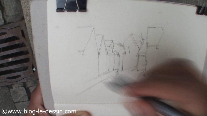 feutre fin dessin immeubles rue et maisons