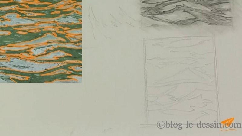 Repasser sur l'esquisse pour la préciser et créer les formes qui ressembleront aux vagues finales.