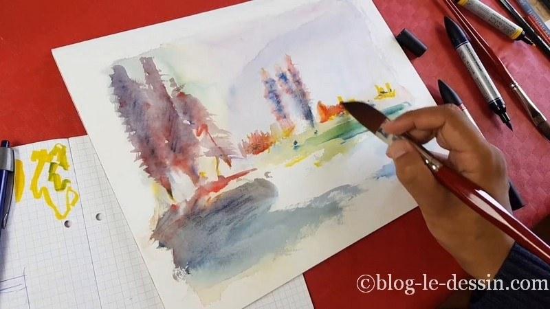 rendu final paysage feutre aquarelle windsor et newton