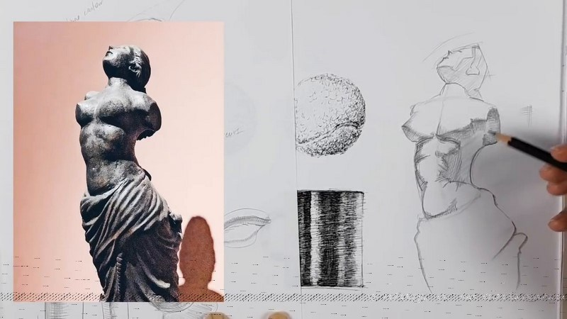 ligne ombre exercice hachures dessin crayon