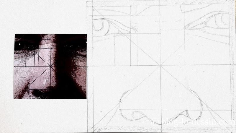 exemple de dessin aux bonnes proportions agrandi avec le compas