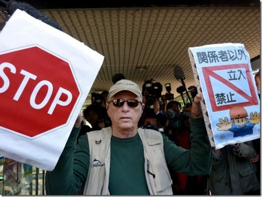 Ric O'Barry à Taiji, le 2 Novembre 2010 - Photo AFP
