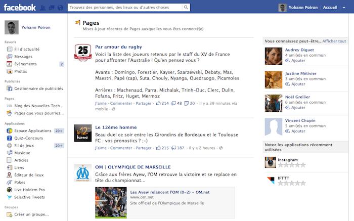 Facebook expérimente le flux d'activités des Pages dans une même interface