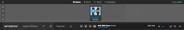 Un tout nouveau Myspace : un premier regard sur l'énorme refonte de la plateforme - Barre d'outils avec le player