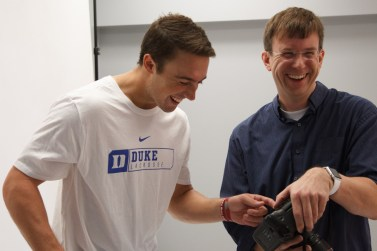 Justin Guterding #14 of the Duke Blue Devils with Peyton Williams of US Lacrosse.