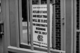 Notice of Fetzer Field's closing posted at the main gate.