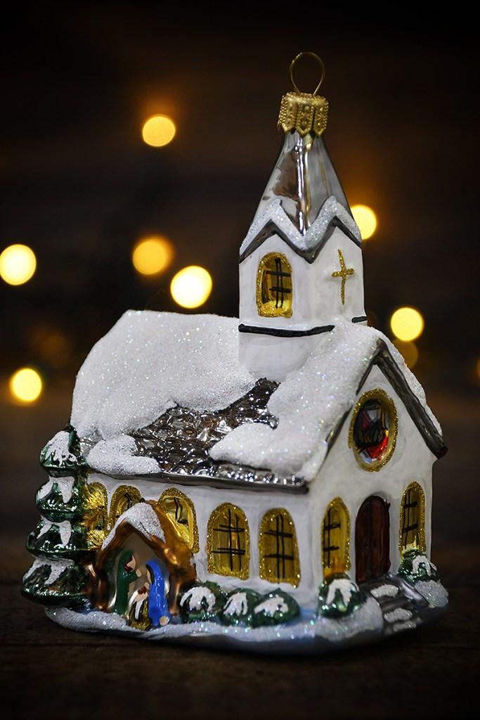 Winter Church With Nativity Scene Glass Ornament