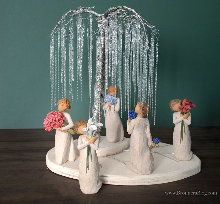 DIY wire willow tree display with Willow Tree collectible figurines by Susan Lordi.
