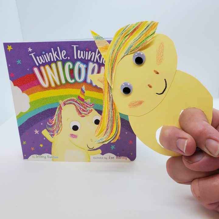 """completed DIY unicorn finger puppet and """"Twinkle, Twinkle Unicorn"""" board book"""