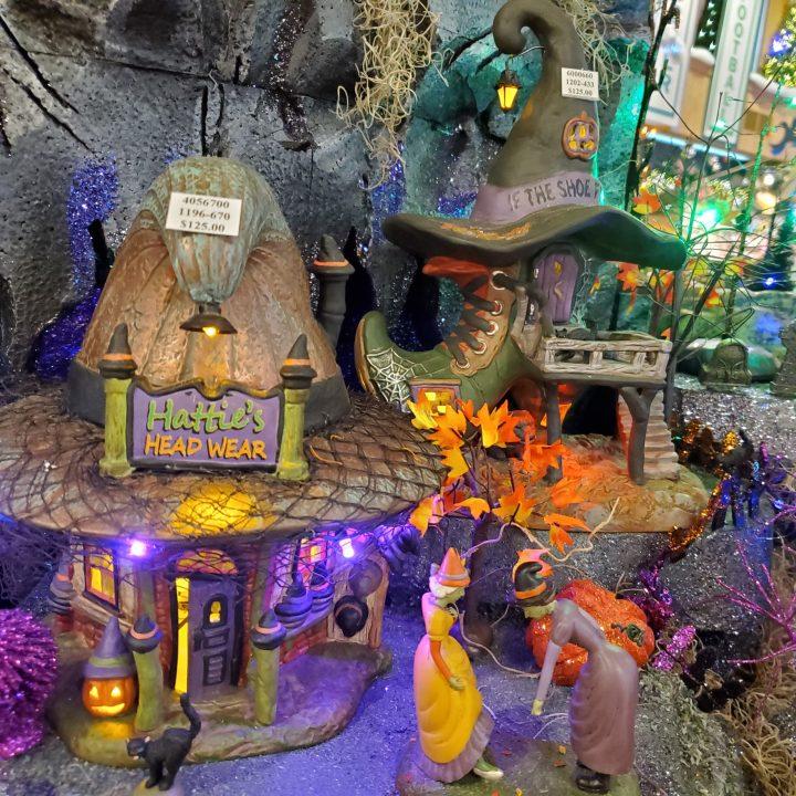 Hattie's Hat Shop and Esmerelda's Shoe  Shop in Bronner's Department 56 Halloween village display.