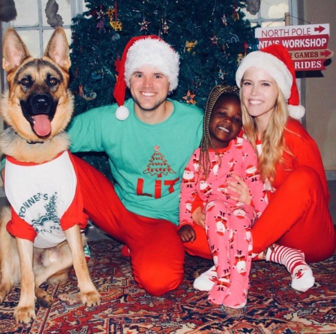 Christmas pajamas family photo.