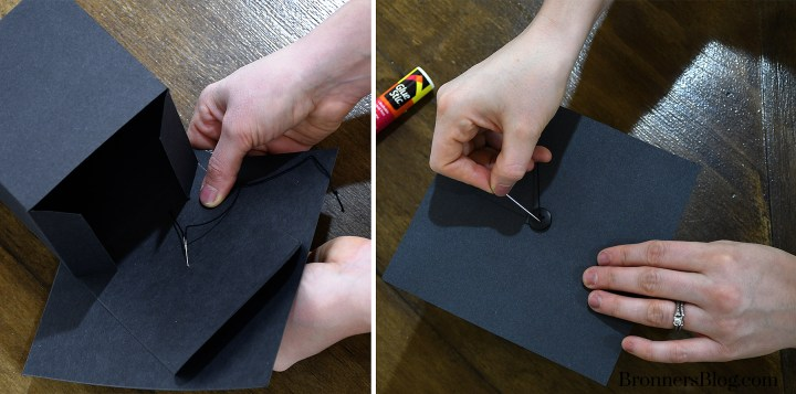 Sew button on to DIY Graduation Gift Box
